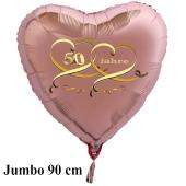 90 cm großer Jumbo Herzballon aus Folie, 50 Jahre Roségold, mit Ballongas Helium, Dekoration Goldene Hochzeit