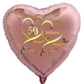 Herzballon aus Folie, 50 Jahre Roségold, mit Ballongas Helium, Dekoration Goldene Hochzeit