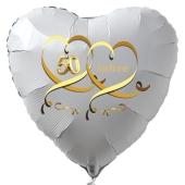 Weißer Herzballon aus Folie, 50 mit Herzen in Gold, inklusive Ballongas Helium, Dekoration Goldene Hochzeit