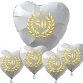 Bouquet zur goldenen Hochzeit, 1 großer Herzballon in Weiß und 4 kleine Herzballons in Weiß mit goldenen Kränzen und Herzen inklusive Helium Ballongas