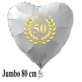 Großer Herzballon aus Folie, 50 mit goldenem Kranz und goldenen Herzen, weiß, mit Ballongas Helium, Dekoration Goldene Hochzeit