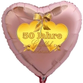 Herzballon aus Folie, goldenen Herzen, roségold, 50 Jahre glücklich verheiratetmit Ballongas Helium, Dekoration Goldene Hochzeit