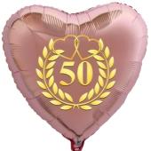 Herzballon aus Folie, 50 mit goldenem Kranz und goldenen Herzen, roségold, mit Ballongas Helium, Dekoration Goldene Hochzeit