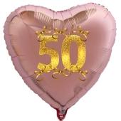Roségoldener Herzballon aus Folie, 50 mit Schleifen in Gold, inklusive Ballongas Helium, Dekoration Goldene Hochzeit