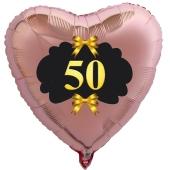 Herzballon aus Folie, 50 mit goldenen Schleifen, roségold, mit Ballongas Helium, Dekoration Goldene Hochzeit