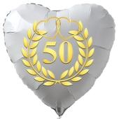Herzballon aus Folie, 50 mit goldenem Kranz und goldenen Herzen, weiß, mit Ballongas Helium, Dekoration Goldene Hochzeit