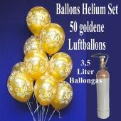 Luftballons HeliumSet 50 goldene Luftballons Zahl 50, 3,5 Liter Ballongas, zur Goldenen Hochzeit