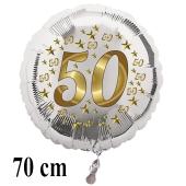 Großer Luftballon zur Goldenen Hochzeit, Zahl 50, Stars, ohne Helium