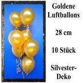Goldene Luftballons zur Dekoration Silvester und Neujahr, 10 Stück