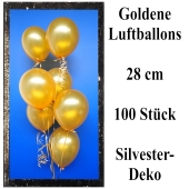 Goldene Luftballons zur Dekoration Silvester und Neujahr, 100 Stück