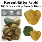 Goldene Rosenblätter mit grünen Blättern