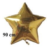 Luftballon aus Folie, Sternballon, Gold, 90 cm