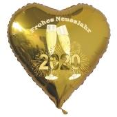 Silvester Luftballon, goldener Herzballon aus Folie, 2020 - Feuerwerk, Sekt