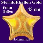 Goldener holografischer Sternballon aus Folie mit Ballongas Helium