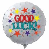 Good Luck! Viel Glück! Weißer Luftballon aus Folie mit Ballongas Helium. Ballongruß
