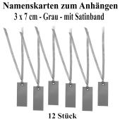 Tischkarten Grau mit Satinband, 12 Stück