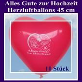 Große 45 cm Herzluftballons in Rot, Alles Gute zur Hochzeit, 10 Stück