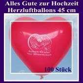 Große 45 cm Herzluftballons in Rot, Alles Gute zur Hochzeit, 100 Stück