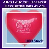 Große 45 cm Herzluftballons in Rot, Alles Gute zur Hochzeit, 1000 Stück