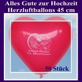 Große 45 cm Herzluftballons in Rot, Alles Gute zur Hochzeit, 50 Stück