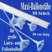 Große Ballonstäbe, Halter für große Luftballons, 50 Stück