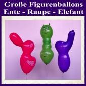 Große Figurenballons, 3er Sortiment, Ente, Raupe und Elefant