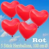 Große Herzluftballons, 100 cm, Rot, 5 Stück