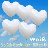 Große Herzluftballons, 100 cm, Weiß, 5 Stück