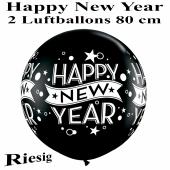 Riesengroße Luftballons zu Silvester und Neujahr, Happy New Year, schwarz, 1 Stück