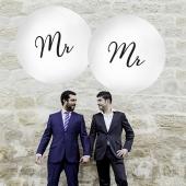 Große Rund-Luftballons, Weiß, 1 Meter, zur Hochzeit von Mr. und Mr.