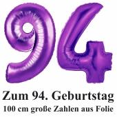 Zahlendekoration Zahl 94, Lila, Große Luftballons aus Folie,1 Meter hoch, Folienballons Dekozahlen