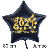 Riesiger Silvester Luftballon, Sternballon aus Folie, 2021 - Happy New Year