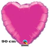 Großer Herzluftballon, 90 cm, magenta