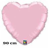 Großer Herzluftballon, 90 cm, perlmutt pink