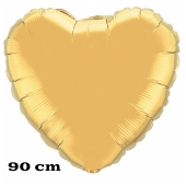 Großer Herzluftballon, 90 cm, gold
