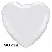 Großer Herzluftballon, 90 cm, silber