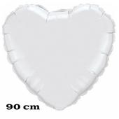 Großer Herzluftballon, 90 cm, weiß