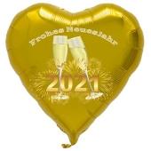 Silvester Luftballon, goldener Herzballon aus Folie, 2021 - Feuerwerk, Sekt