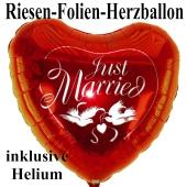 Großer Herzluftballon aus Folie zur Hochzeit, Just Married, roter Folienballon inklusive Helium