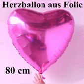 Großer Herzballon aus Folie, Pink