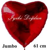 """Großer Herzluftballon in Rot, 61 cm """"Iyiki Doğdun"""""""