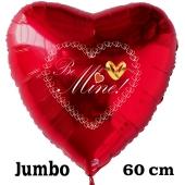Großer Herzluftballon in Rot zum Heiratsantrag. Be mine!