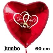 Großer Herzluftballon in Rot zum Heiratsantrag. Du und ich? Sag ja!