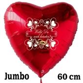 Großer Herzluftballon in Rot zum Heiratsantrag. Willst Du mich heiraten?