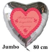 """Großer Herzluftballon in Silber, 80 cm """"Bebeğimize hoşgeldin diyoruz"""" Rosa"""
