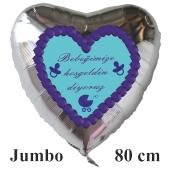 """Großer Herzluftballon in Silber, 80 cm """"Bebeğimize hoşgeldin diyoruz"""""""