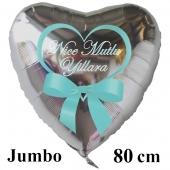 """Großer Herzluftballon in Silber, 80 cm """"Nice Mutlu Yillara"""""""