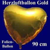Großer Herzluftballon aus Folie, Gold, 90 cm, mit Ballongas Helium