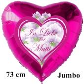 In Liebe für Mutti. Luftballon in Herzform aus Folie, pinkfarben, mit Helium zum Muttertag