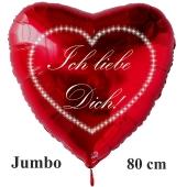 """Großer Herzluftballon in Weiß """" Ich liebe Dich!"""" Sternchenherz"""
